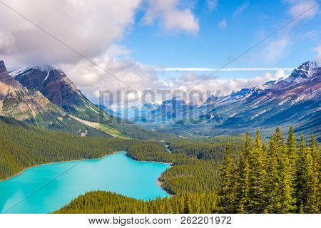 View At The Peyto Lake And The North Mountain Massif From Bow Summit In Canadian Rocky Mountains, Ba