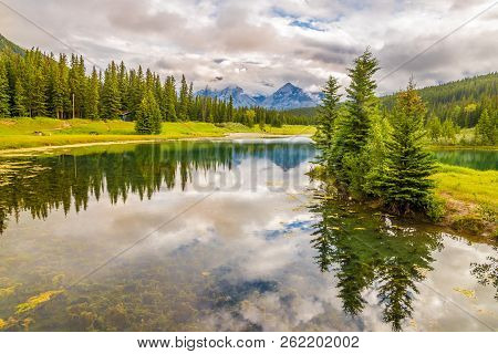 View At The Nature Near Vermillion Lakes In Banff National Park, Canada