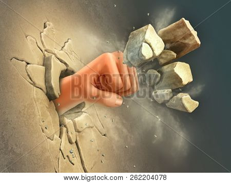 Punching an hole through a wall. 3D illustration.