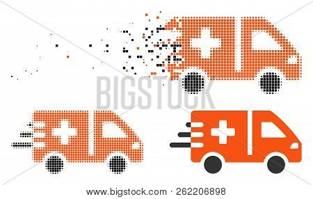Emergency Car Icon In Dissolving, Pixelated Halftone And Undamaged Whole Variants. Particles Are Gro