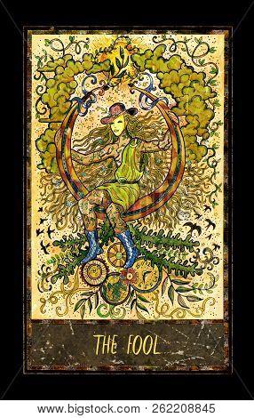 Fool. Major Arcana Tarot Card. The Magic Gate Deck. Fantasy Graphic Illustration With Occult Magic S