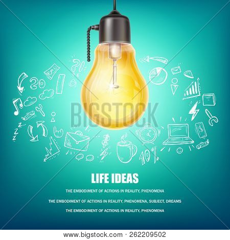 Creative Ideas Vector Concept Illustration. Poster With Yellow Light Bulb, Hand Drawn Icons Around I