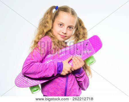 Child Hold Penny Board. Penny Board Of Her Dream. Choose Skateboard That Looks Great And Also Rides