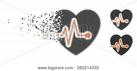 Heart Pulse Icon In Dissolving, Dotted Halftone And Undamaged Entire Versions. Points Are Organized