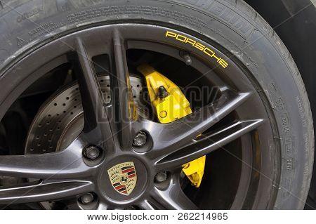 Ales, France - September 9, 2018: Detail Of A Wheel Of A Porsche White Convertible Sports Car