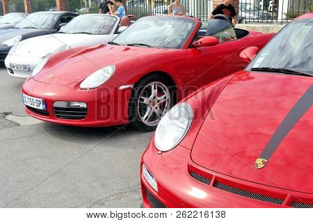 Ales, France - September 9,2018: Porsche Sports Car Rally On A Parking Lot In The City Of Ales In Th