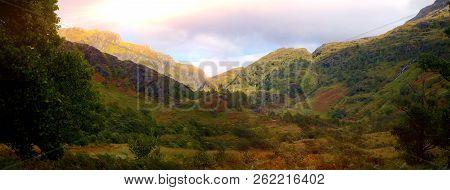 Scottish Highlands Panorama Ben Nevis Shine Lens Flare Panorama