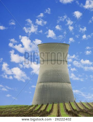 cooling tower of Rancho Seco Nuclear power station, in Northern California and operated by SMUD, now closed after a system failure several years ago