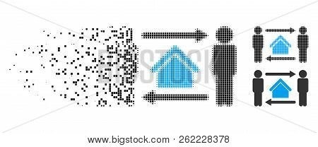 Men Home Exchange Icon In Dispersed, Pixelated Halftone And Undamaged Whole Variants. Pieces Are Gro