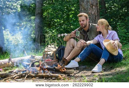 Hike Picnic. Couple Take Break To Eat Nature Background. Couple In Love Camping Forest Hike. Couple