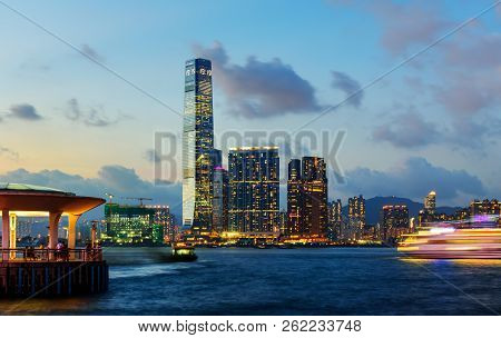 Hong Kong - August 8, 2018: Hong Kong View From The Central Pier With Downtown Cityscape View Over W
