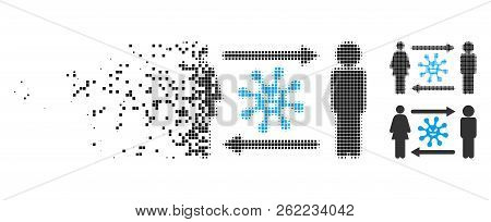 People Exchange Bacteria Icon In Dissolving, Pixelated Halftone And Undamaged Solid Variants. Elemen
