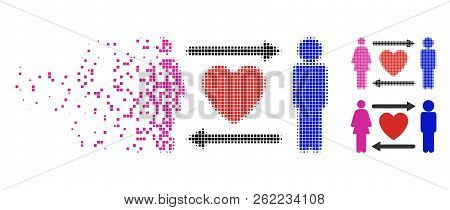 People Exchange Heart Icon In Disappearing, Dotted Halftone And Undamaged Whole Versions. Pixels Are