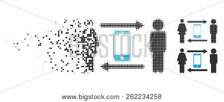 People Exchange Smartphone Icon In Dissolved, Dotted Halftone And Undamaged Solid Versions. Points A