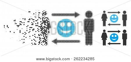People Exchange Smile Icon In Disappearing, Pixelated Halftone And Undamaged Solid Versions. Cells A