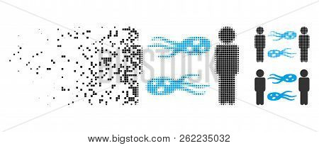 Persons Exchange Microbes Icon In Dispersed, Dotted Halftone And Undamaged Whole Variants. Cells Are