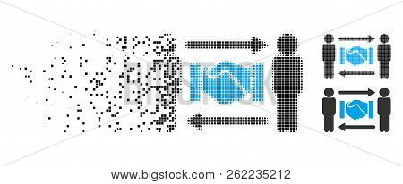 Persons Handshake Exchange Icon In Disappearing, Dotted Halftone And Undamaged Whole Variants. Point