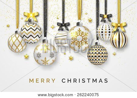Christmas Background With Shining Stars, Bows, Confetti And Colorful Balls. New Year And Christmas C