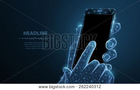 Mobile Phone. Abstract Polygonal Wireframe Closeup Mobile Phone With Blank Empty Black Screen In Hol
