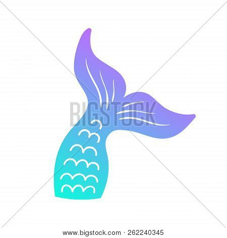 Mermaid Tail Vector Graphic Illustration. Hand Drawn Teal, Turquoise, Blue And Purple, Violet Mermai