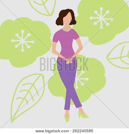 Urinary Incontinence, Cystitis, Involuntary Urination Woman Vector Illustration