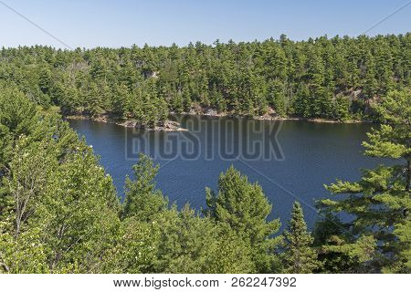Aerial View Of Hidden Lake Of The Woods In Killarney Provincial Park In Ontario, Canada