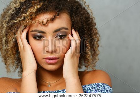 A Beautiful Black Woman Portrait. Tests The Emotion Of Bewilderment Of Fear Of Terror Confusion Beau