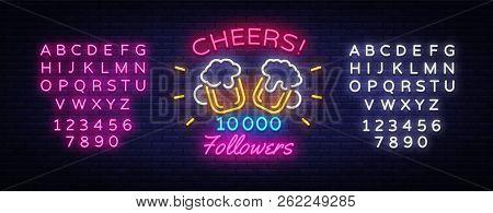 Follow Memphis Neon Sign Vector. Cheers Party Celebration Memphis Card For Social Media Design Templ