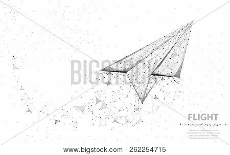 Vector Paper Airplane. Abstract Polygonal Wireframe Plane Illustration On White Background. Dream Sy