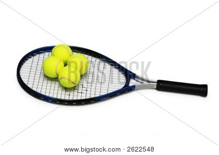 Tennis rackets and four balls isolated on white poster