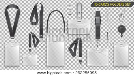 Set Of Realistic Badges Id Cards Holders On Black Lanyards With Strap Clips, Cord And Clasps Vector