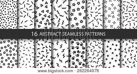 Set Of Vector Abstract Seamless Patterns With Different Shapes. Collection Of Patterns In The Memphi