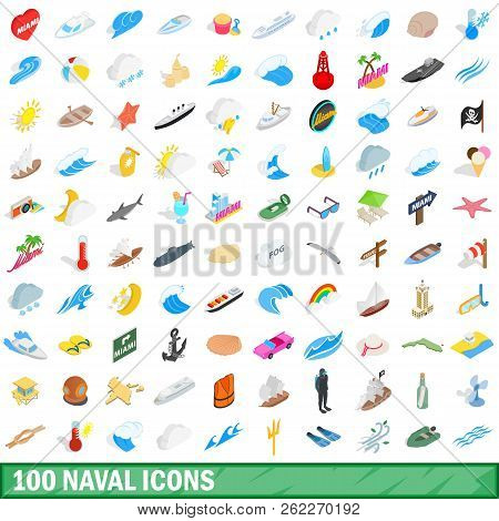 100 naval icons set in isometric 3d style for any design illustration poster