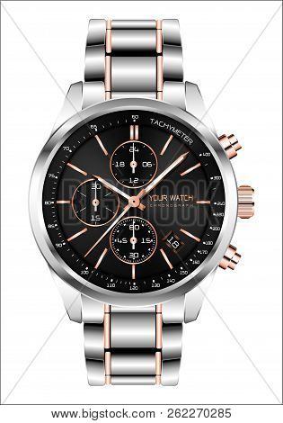 Realistic Clock Watch Chronograph Steel Copper Black Face White Number Luxury For Men Isolated Backg