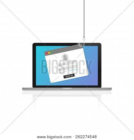 Laptop Internet Security Concept. Internet Phishing, Hacked Login And Password. Vector Stock Illustr