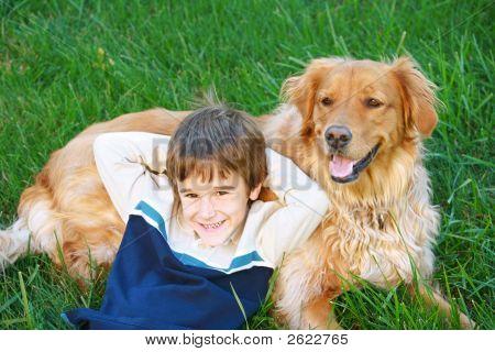 Boy And Golden Retriever