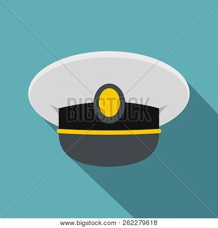 White Nautical Hat Icon. Flat Illustration Of White Nautical Hat Icon For Web