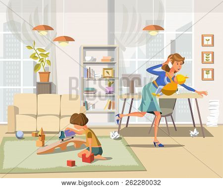 Working Mother Concept. Busy Mom With Children. Mother Working At Home. Super Mom Multitasking Woman