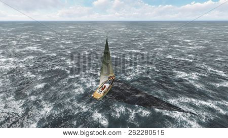 Yacht Sailing On Opened Sea. Yacht From Above. 3d Rendering