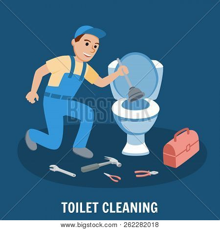 Toilet Cleaning, Plumbing Service. Plumbing Toilet leakage or clogging, Plumber Repair Tools. Sewage System. Toilet Bowl and Sewer. Plumber Design Concept set with Repair. Vector Illustration. poster