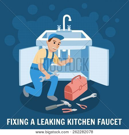 Fixing Leaking Kitchen Faucet. Proffesional Plumber Man. Plumbing Service With Repair Tools. Repair
