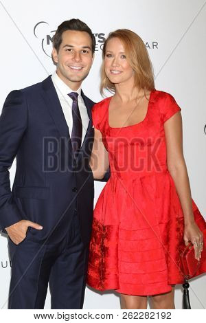 LOS ANGELES - OCT 6:  Skylar Astin, Anna Camp at the Mickey's 90th Spectacular Taping at the Shrine Auditorium on October 6, 2018 in Los Angeles, CA