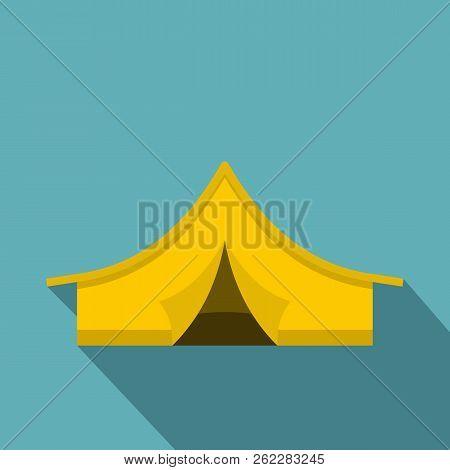 Yellow Tourist Tent Icon. Flat Illustration Of Yellow Tourist Tent Icon For Web