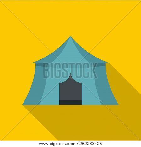 Blue Yellow Tourist Tent For Travel And Camping Icon. Flat Illustration Of Blue Yellow Tourist Tent