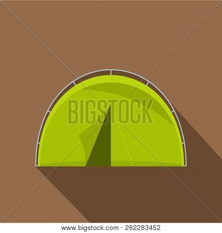 Green Touristic Camping Tent Icon. Flat Illustration Of Green Touristic Camping Tent Icon For Web