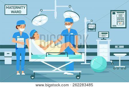 Maternity Ward Concept. Doctor Examine Pregnant Woman. Maternity Hospital Ward. Childbirth At Clinic