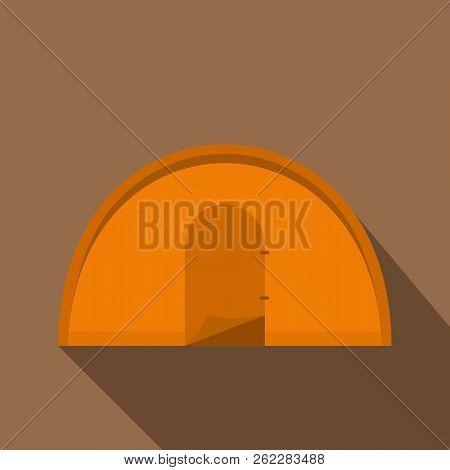 Orange Tourist Tent Icon. Flat Illustration Of Orange Tourist Tent Icon For Web