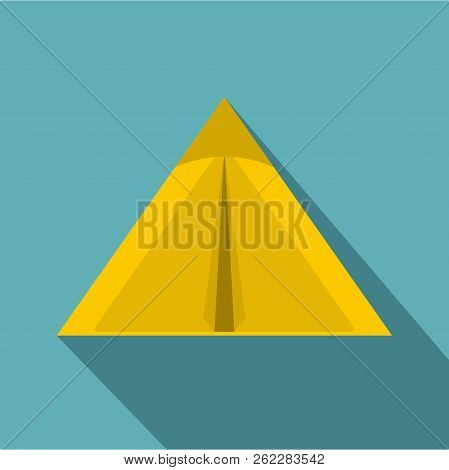 Yellow Tourist Tent For Travel And Camping Icon. Flat Illustration Of Yellow Tourist Tent For Travel