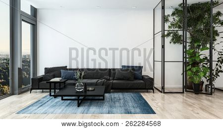 Modern living room interior with tall indoor plants and black furniture. 3d Rendering.
