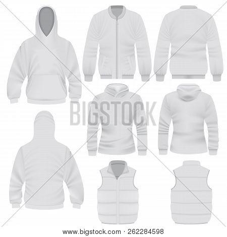 Warm Clothes Mockup Set. Realistic Illustration Of 8 Warm Clothes Mockups For Web